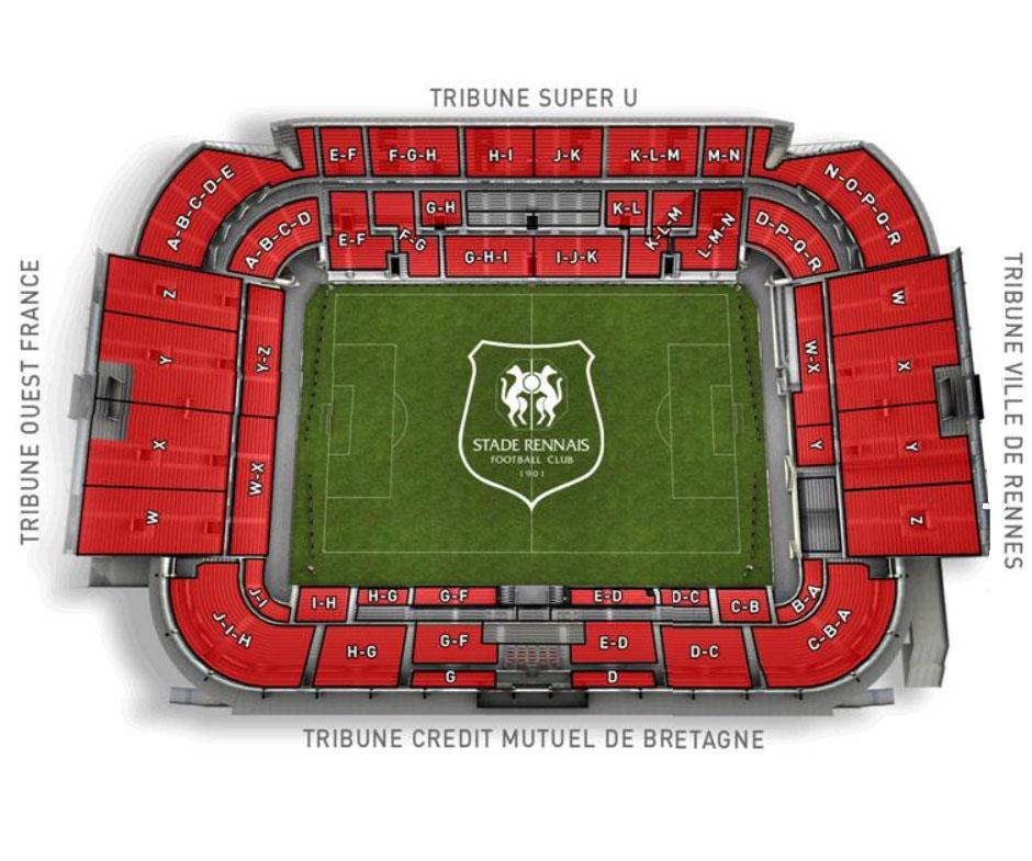 Plan du stade roazhon park route de lorient rennes - La route du meuble rennes ...